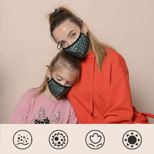Set of 2 -  Christmas Print 100% Cotton Mask with Filter (Adult and Kid) - Green