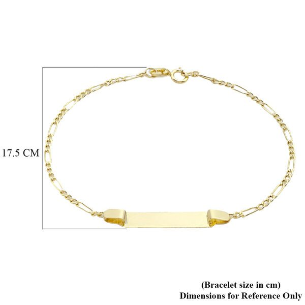 Personalised 9CT Gold 60 Hollow Figaro ID Bracelet, Size 7 Inch