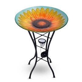 Hand Painted Sunflower Pattern Glass Birdbath with Solar Light in Multi (Size: 45x45x57cm)