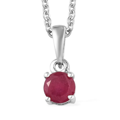 2 Piece Set - African Ruby Pendant With Chain (Size 18) and Stud Earrings (with Push Back) in Platinum Overlay Sterling Silver 2.25 Ct.