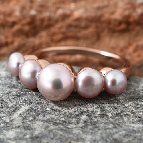 Fresh Water Pink Pearl (Rnd) Ring in Rose Gold Overlay Sterling Silver 4.000 Ct.