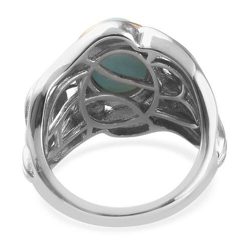 Larimar Solitaire Ring in Platinum and Yellow Gold Overlay Sterling Silver 2.75 Ct, Silver wt 6.93 Gms
