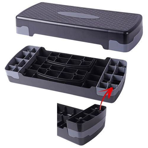 Aerobic Exercise Step Platform (with 2 Levels) - Grey and Black