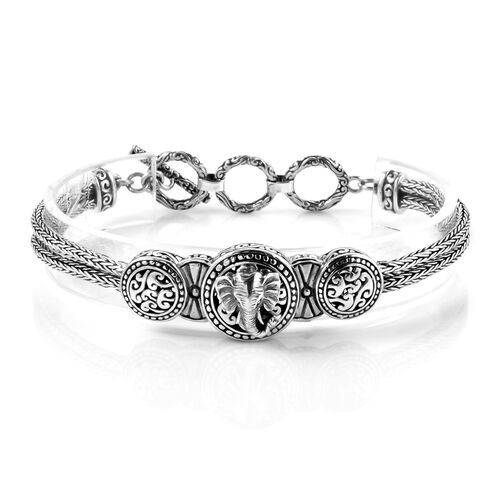 Royal Bali Collection - Sterling Silver Elephant Tulang Naga Bracelet (Size 7.5) with T Lock, Silver