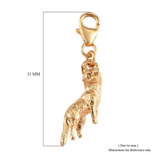 14K Gold Overlay Sterling Silver Fox Charm