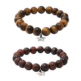 Value Buy-2 Piece Set - Yellow and Red Tiger Eye (Rnd), Blue Sapphire Stretchable Beads Bracelet (Si