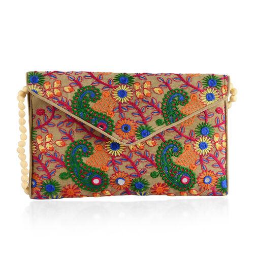 Designer Inspired - Green, Beige and Multi Colour Paisley and Floral Embroidered Envelope Design Velvet Sling Bag (Size 30X20 Cm)