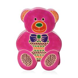Handmade and Hand Painted Teddy Coin Bank (Size 13.5x4x18.5 Cm) - Fuchsia and Multicolour