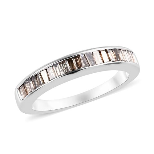 0.50 Ct Natural Champagne Diamond Half Eternity Band Ring in 9K White Gold 3.34 Grams