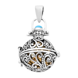 Royal Bali Collection - Arizona Sleeping Beauty Turquoise Harmony Ball Pendant in Yellow Gold Overla