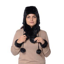 4 Piece Set - Soft Faux Fur Pompom Trooper Hat, Collar Scarf and Cuff - Black