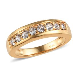 J Francis - Crystal from Swarovski White Crystal (Rnd) Ring in 18K Yellow Gold Plated
