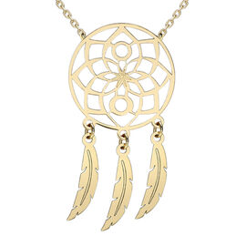 9K Yellow Gold Flower Dream Catcher Necklace (Size 16 with 1.75 Inch Extender).
