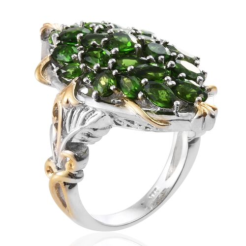 Russian Diopside (Ovl) Ring in Platinum Overlay Sterling Silver 5.000 Ct. Silver wt. 8.80 Gms.