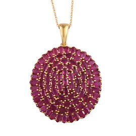 African Ruby (Ovl) Pendant With Chain (Size 30) in 14K Gold Overlay Sterling Silver 28.250 Ct, Silver wt 22.00 Gms