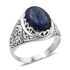 Kashmir Blue Kyanite (Ovl 14x10 mm) Solitaire Ring in Sterling Silver 6.660 Ct.