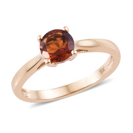 9K Rose Gold Madeira Citrine (Rnd) Solitaire Ring 0.750 Ct.