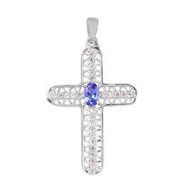 Tanzanite and Natural Cambodian Zircon Cross Pendant in Platinum Overlay Sterling Silver 1.00 Ct.