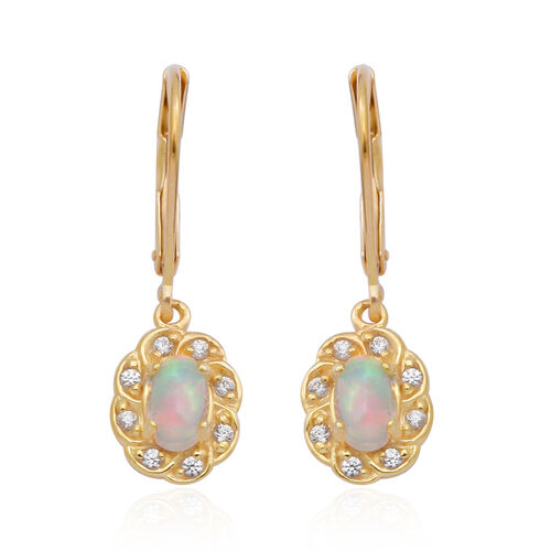 Ethiopian Welo Opal and Natural Cambodian Zircon Lever Back Floral Earrings in Yellow Gold Overlay S