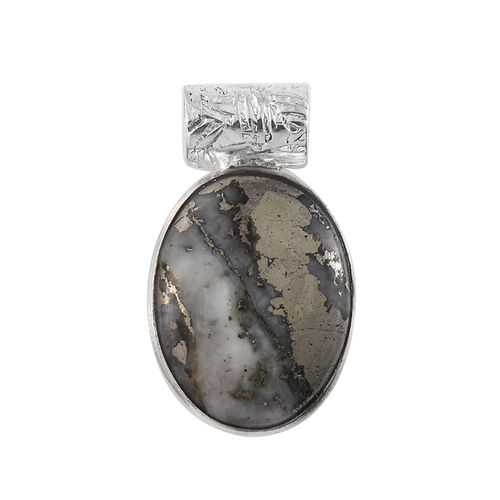 15.12 Ct Handmade Pyrite Solitaire Pendant in Sterling Silver
