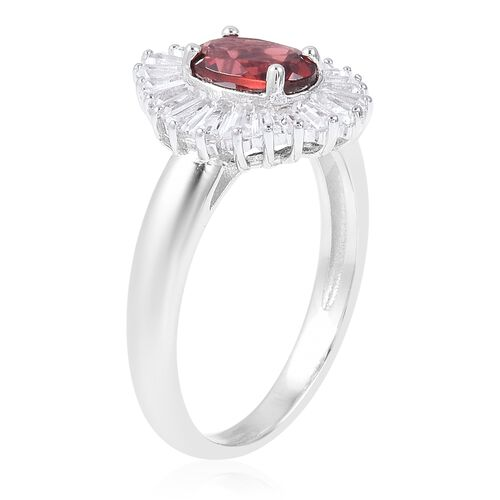 Mozambique Garnet (Ovl), White Topaz Ring in Rhodium Overlay Sterling Silver 2.530 Ct.