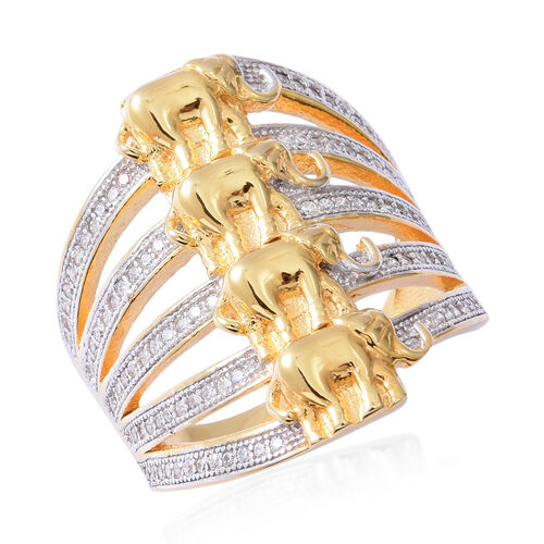 ELANZA Simulated Diamond (Rnd) Elephant Ring in Rhodium and Yellow Gold Overlay Sterling Silver, Silver wt 7.38 Gms.