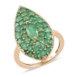 2.50 Carat AAA Zambian Emerald Cluster Ring in 9K Gold 2.84 Grams
