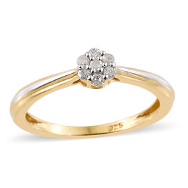 Diamond (Rnd) Ring in Platinum Overlay and Yellow Gold Sterling Silver  0.100 Ct.