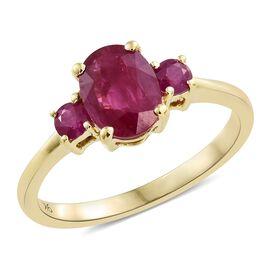 9K Yellow Gold AAA Burmese Ruby (Ovl 1.50 Ct) Ring 1.750 Ct.