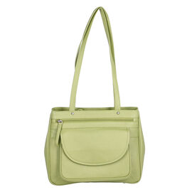 Super Soft 100% Genuine Nappa Leather Multi-Compartment Shoulder Bag in Green (29x7.5x23cm)