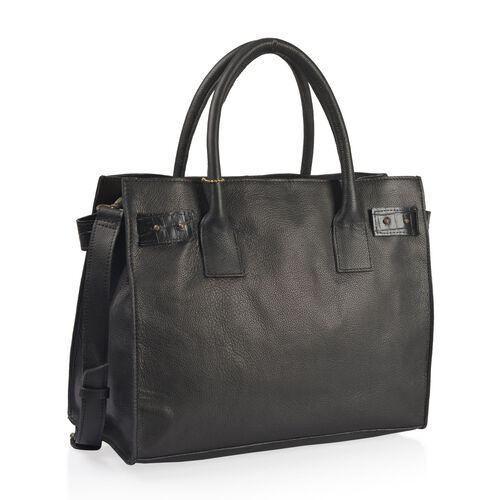 Luxury Edition-100% Genuine Premium Leather (High Grain) RFID Blocker Black Colour Handbag with Adjustable and Removable Shoulder Strap (Size 36X26X18 Cm)