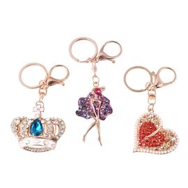 Set of 3 - Multicolour Austrian Crystal and Simulated Pearl Crown, Lady and Heart Enamelled Keychain
