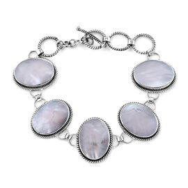 Royal Bali Collection - Mother of Pearl (Ovl 20x15 mm) Bracelet (Size 6.25) in Sterling Silver, Silv