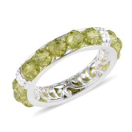 Hebei Peridot Band Ring in Sterling Silver 6.25 Ct.