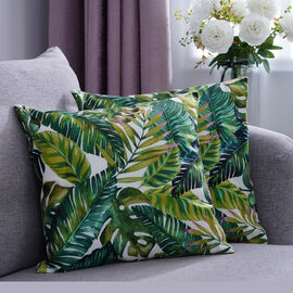 Set of 2 - Leaves Pattern Cushion Cover with Zipper Closure (Size 43x43cm) - White & Green