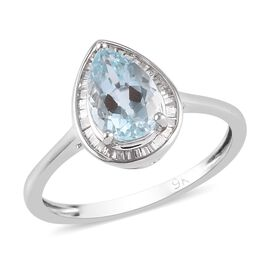 9K White Gold AA Aquamarine and White Diamond Ring 1.25 Ct.