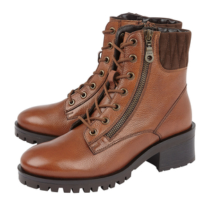 Lotus DANTE Lace Up Ankle Boots with Zip in Tan