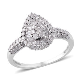Designer Inspired- Diamond (Rnd and Bgt) Ring in Platinum Overlay Sterling Silver 1.00 Ct.