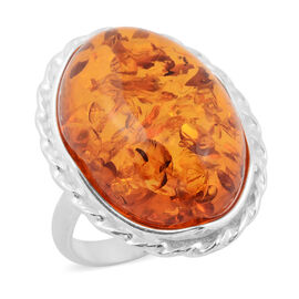 Baltic Amber (Ovl) Ring in Sterling Silver, Silver wt 9.00 Gms