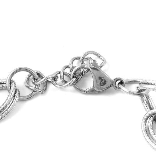 Designer Inspired-Stainless Steel Multi Charms Bracelet (Size 7.5 and 1 inch Extender)