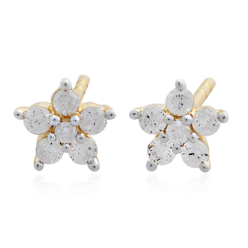 9K Yellow Gold 0.25 Ct Diamond Floral Stud Earrings (with Push Back) SGL Certified (I3/G-H)