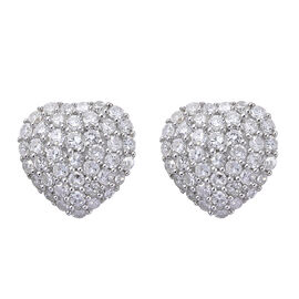 1.02 Ct Diamond Heart Cluster Earrings in 9K White Gold 2.12 Grams With Push Back