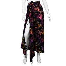 Bali Collection Printed Viscose Sarong (Size 165x120 Cm) - Black, Yellow & Multi