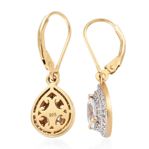 J Francis - 14K Gold Overlay Sterling Silver (Pear and Rnd) Lever Back Earrings Made with SWAROVSKI ZIRCONIA