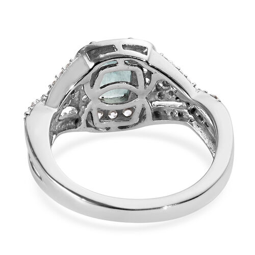 Grandidierite (Cush), Natural Cambodian Zircon Ring in Platinum Overlay Sterling Silver 1.70 Ct.