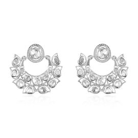 GP Polki Diamond and Blue Sapphire Earrings (with Push Back) in Sterling Silver 1.61 Ct, Silver wt.