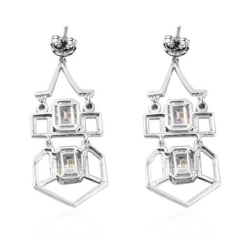 Mercury Mystic Topaz Earrings in Platinum Overlay Sterling Silver 4.75 Ct., Silver wt 7.43 Gms