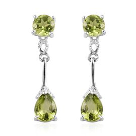 Hebei Peridot (Pear and Rnd) Earrings (with Push Back) in Sterling Silver 2.50 Ct.