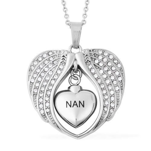 White Austrian Crystal Nan Angel Wing Heart Memorial Urn Pendant with Chain (Size 20) in Stainless S