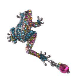 Multicolour Austrian Crystal Frog Brooch in Black Tone